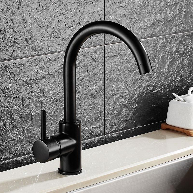Black Painted Faucet Brass Kitchen Faucet Kitchen Sink Tap 360 ...