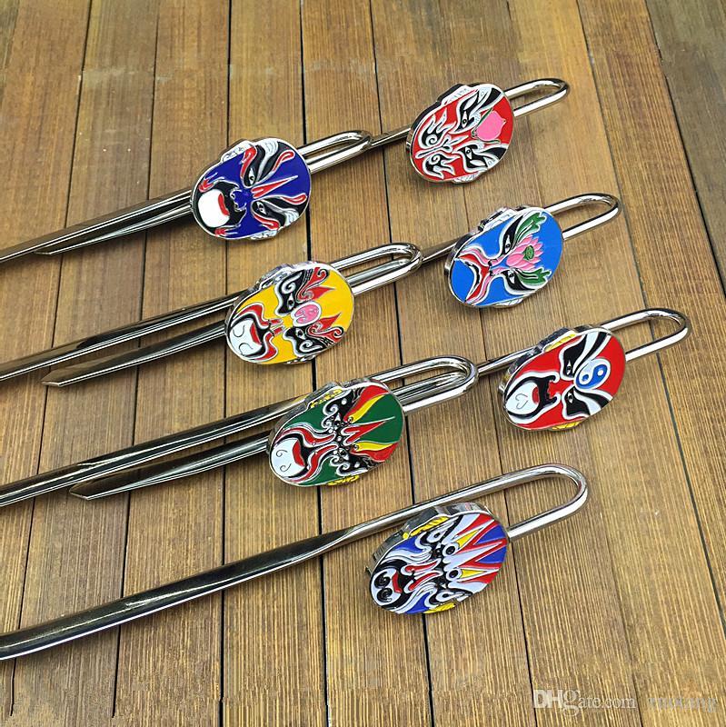 Vintage Chinese opera metalen bladwijzer clip creatieve zinklegering zakelijke gift bladwijzers met geschenkdoos