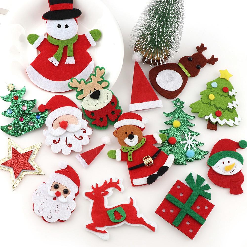 Decorazioni Artigianali Natalizie.Acquista Bella Tessuto Non Tessuto Albero Di Natale Applique Patch