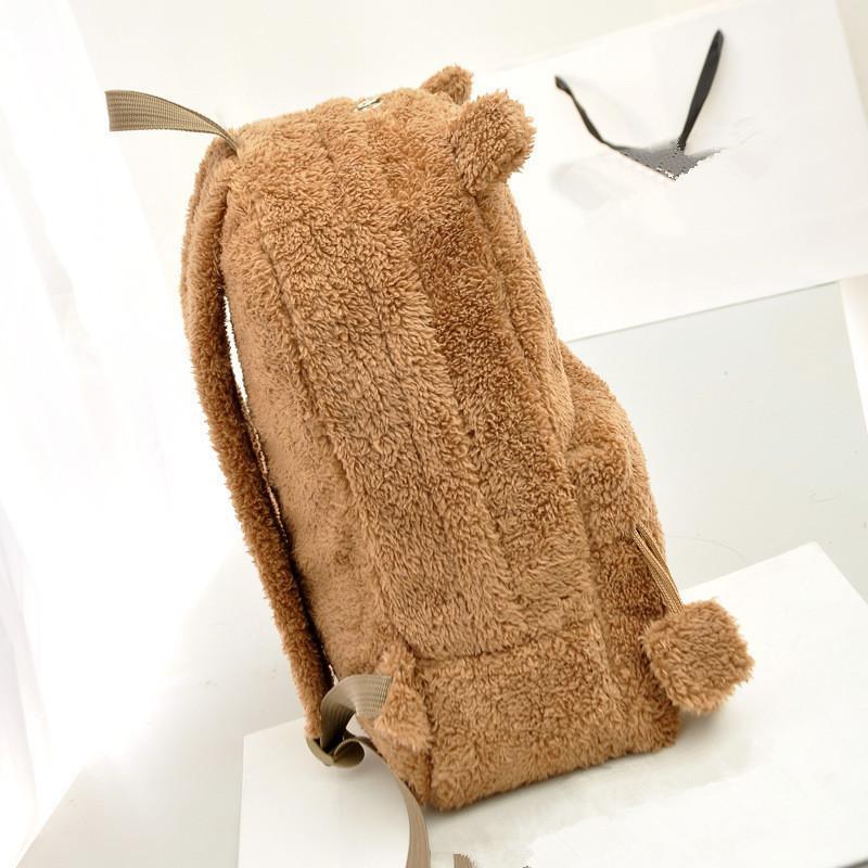 Blascher Winter Cute Women Backpack Bear Style Backpack For Girls Furry Plush Schoolbag Bag Khaki Brown Black HBE80