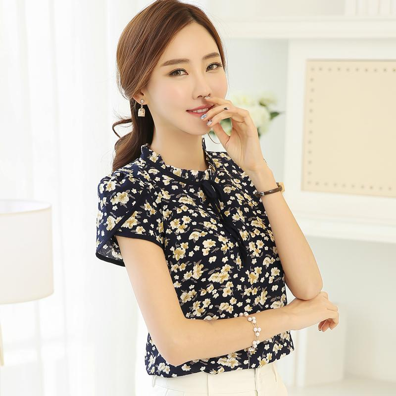 2017 Summer Print Chiffon Blouse Ruffled Bow Neck Shirt Petal Short Sleeve Chiffon Tops Floral Plus Size Blusas Femininas 37i 40