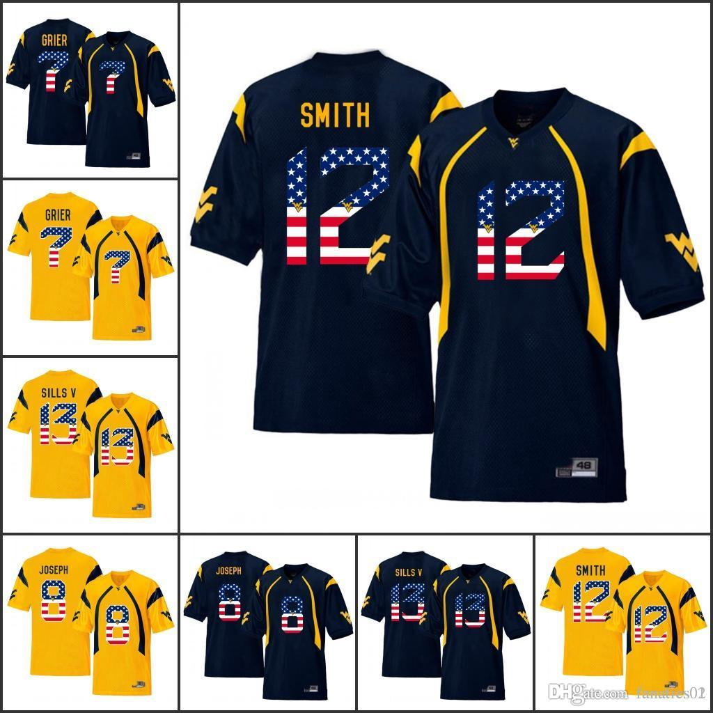 2019 National Flag NCAA WVU College Football Jerseys West Virginia  Mountaineers Elijah Drummond Roberson Jr. Matt Jones Marcus Simms Adam  Jones From ... f83b99ebd