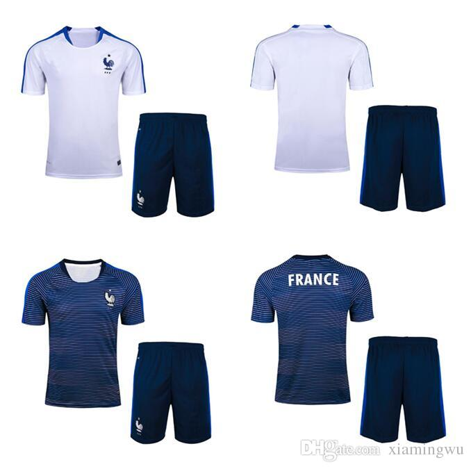 Compre Top Thai Quality 2018 Euro Griezmann Casa Azul Futebol Jersey Kits  2017 2018 Griezmann Pogba Martial Giroud Fora Camisas De Futebol Branco De  ... 267da8efd8bbb