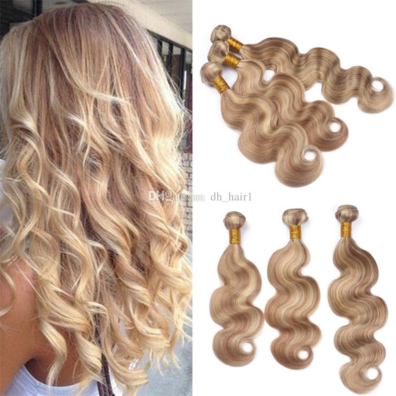 Indian Body Wave Piano Human Hair Weave 27613 Blonde Highlights