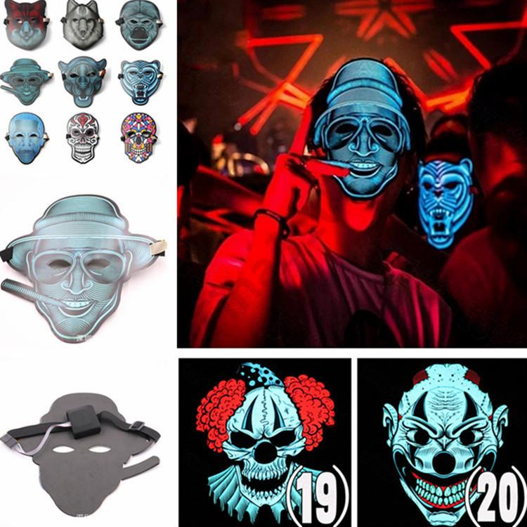 Halloween Cosplay EL Mask Led Sound Control Creative Cold Light Masquerade Dance Rave Cosplay Portable mask bar supplies 50pcs T1I970