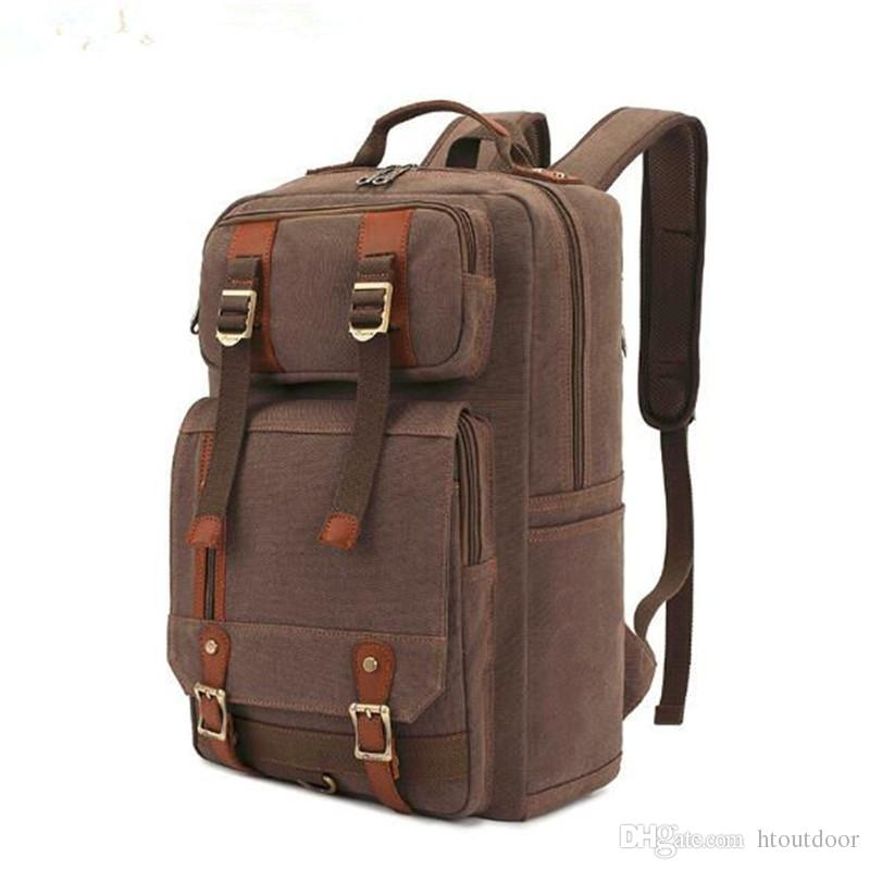 f17d3098de33 2019 Fashion Vintage Men S Women S Canvas Leather Backpack Retro Outdoor  Camping Hiking Rucksack Satchel School Bag From Htoutdoor