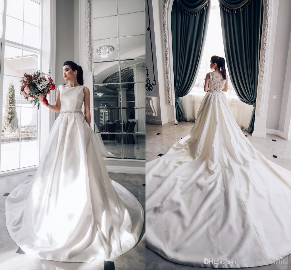 Discount 2018 Elegant A Line Satin Wedding Dresses Bateau Neckline ...