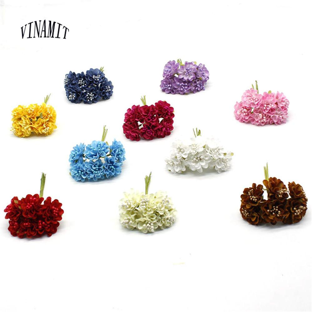 2018 Vinamit New Mini Silk Daisy Artificial Flower Bouquet Diy