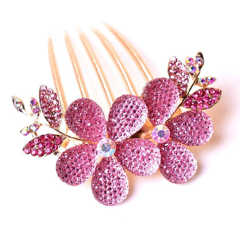 2018 Romantic Crystal Flower Hair Combs Hairpin Hair Accessories Luxury Women Beautiful Sweet Hairpin Tiara Gift