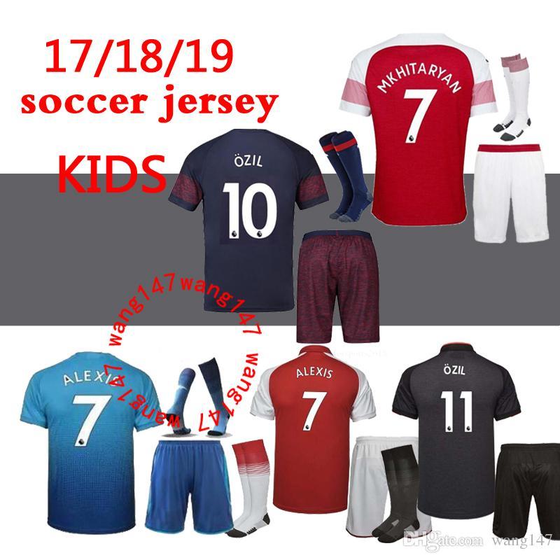 93d61913d39 2018 2019 Kids Kits+sock Gunners OZIL Arsenal Soccer Jersey 17 18 19 ...