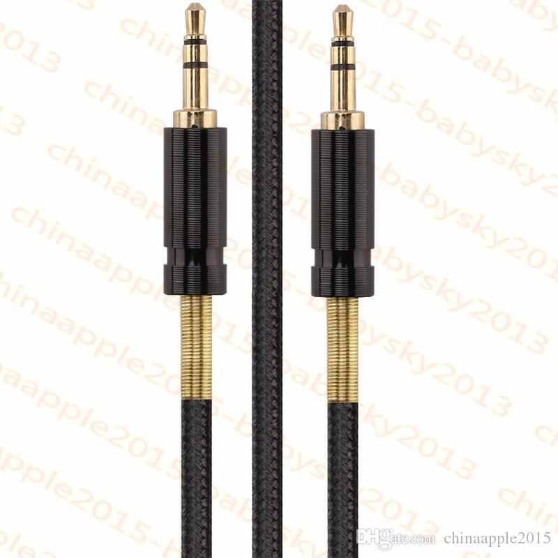 Semi Spring Car stereo Auxiliary Aux Cable 1m 3.5mm male to male car audio Nylon Cord line for pc headphone speaker mobile phone