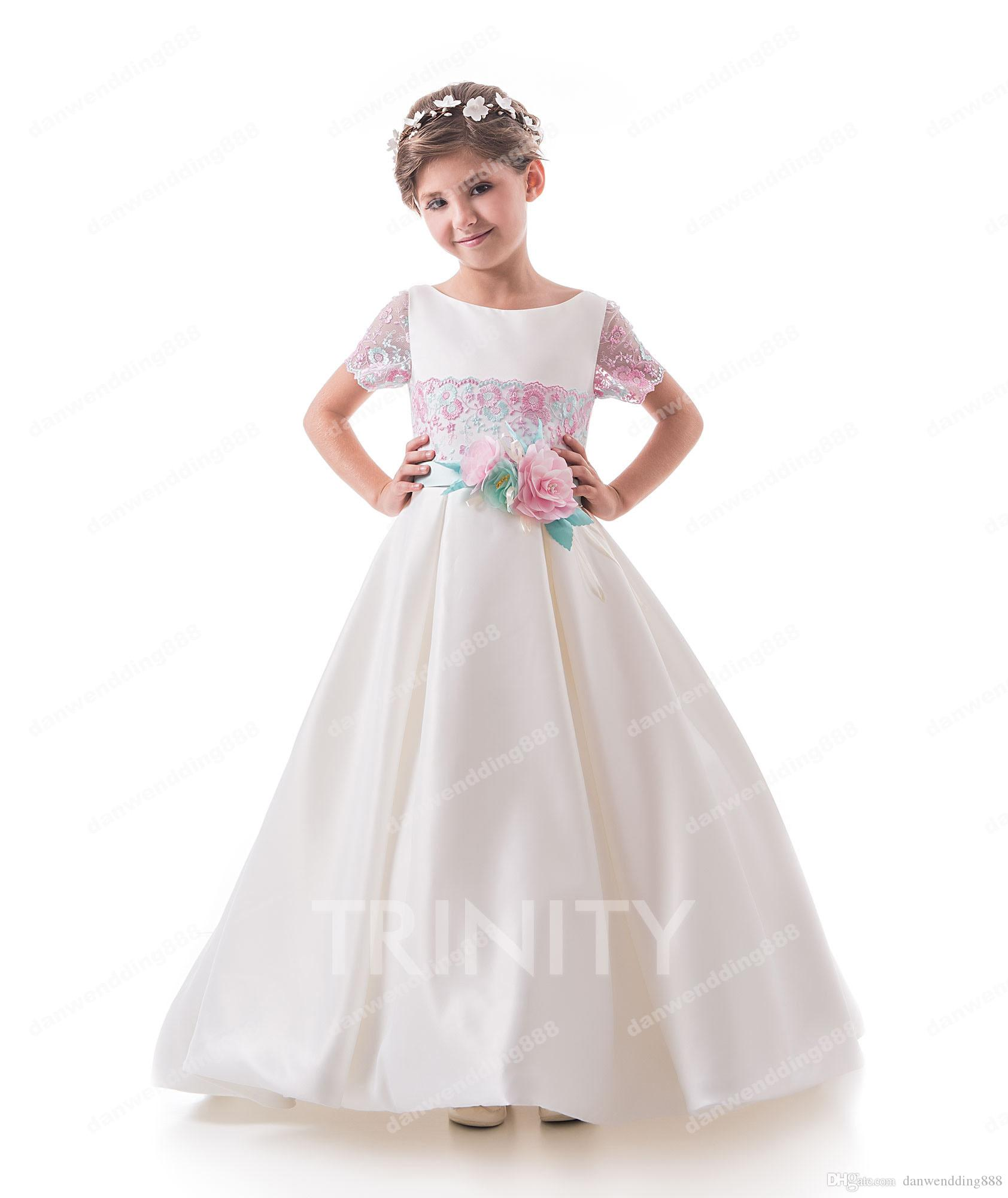 19329aa3882 Pretty Ivory Satin Lace Applique Flower Girl Dresses Princess Dresses Girl S  Pageant Dresses Custom Made Size 2 6 8 10 12 14 KF327252 Young Girls Party  ...