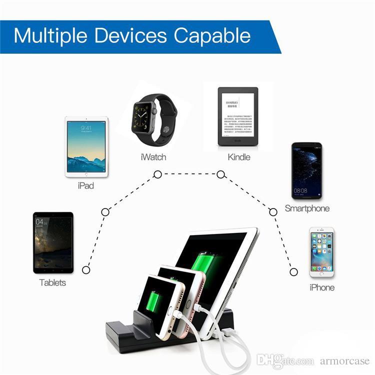 Múltiplas 4 Portas USB Hub Carregadores de Doca Carregador De Mesa Portátil Base de Dados de Viagem Dispositivo de Smartphone Estação de Carregamento USB Carregador Docking Novo