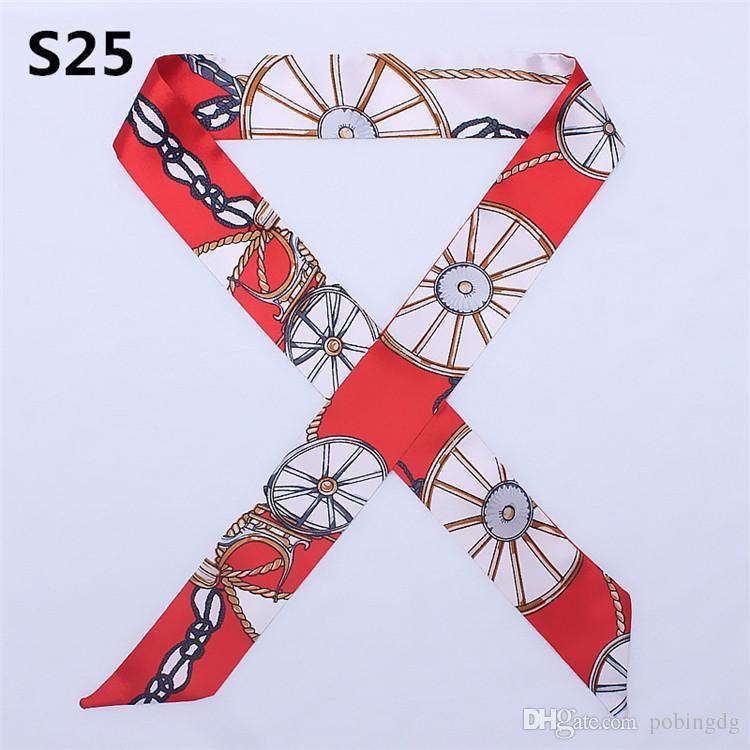 100см * 4см Лидирующий женщина Мода Дизайн Связали сумка шарф Дамы Малый лук ленты косынку шелковые шарфы Wrap 66 цветов Аутлет