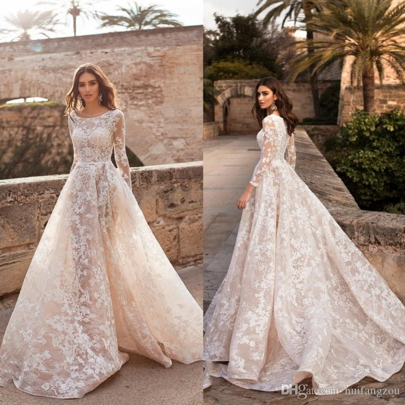 4331c0d3cef Discount Vintage Naviblue 2019 Dolly Wedding Dress Illusion Sexy Long  Sleeve Lace Floral Applique Bridal Gowns Sweep Train Wedding Dresses Under  500 Wedding ...