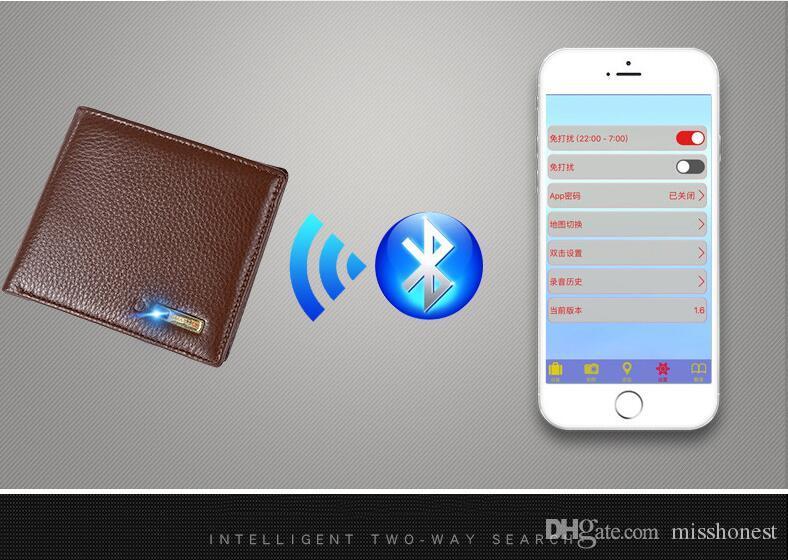 Geldbeutel Smart Brieftasche Männer Echte Leder Anti Verloren Intelligente Bluetooth Smart Brieftasche Männer Gps Locator Brieftasche Herrentaschen