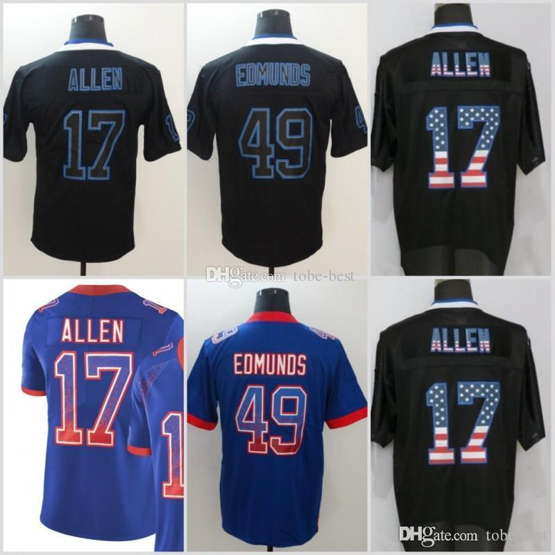 release date bd6c0 52775 Buffalo 17 Josh Allen Jerseys 49 Tremaine Edmunds Bills 2018 Salute to  Service USA Flag Fashion Lights out Black Color Rush Drift Camo
