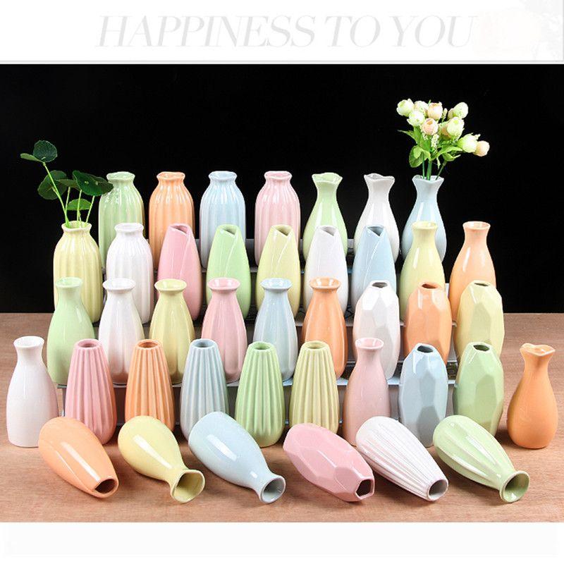 Chinese Handicraft Ceramics Flower Vase Small Cylinder Ceramic Bud