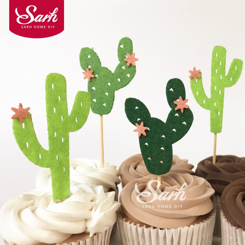 2019 Pack Green Cacti Cactus Birthday Cake Inserted Card For Girl Boy Party Decoration DIY Gifts From Narciss 2139