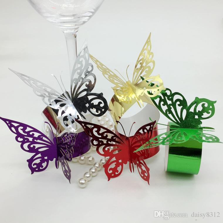F14 Laser Cut Hollow Butterfly Paper Card Napkin Ring Serviette Buckle Holder Hotel Wedding Party Favour Decoration