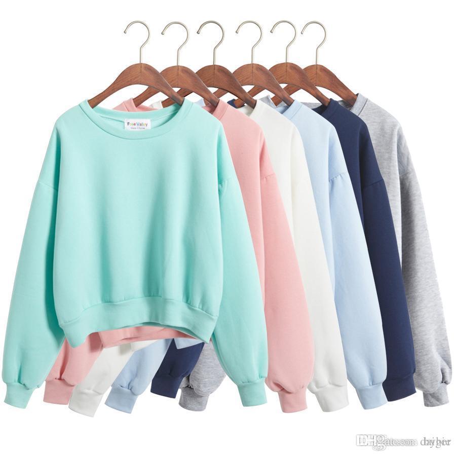 80573c3f279 Wholesale- Harajuku Style 2017 Korean a Short Section of New Winter Kawaii Hoodies  Women Loose Ulzzang Solid Candy Colors Women Sweatshirts Women Sweatshirt  ...
