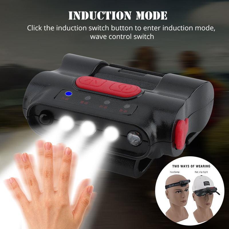 5 LED Kopf Cap Hut Licht Kopf Lampe Sensor für Outdoor Angeln Camping Jagd Neu
