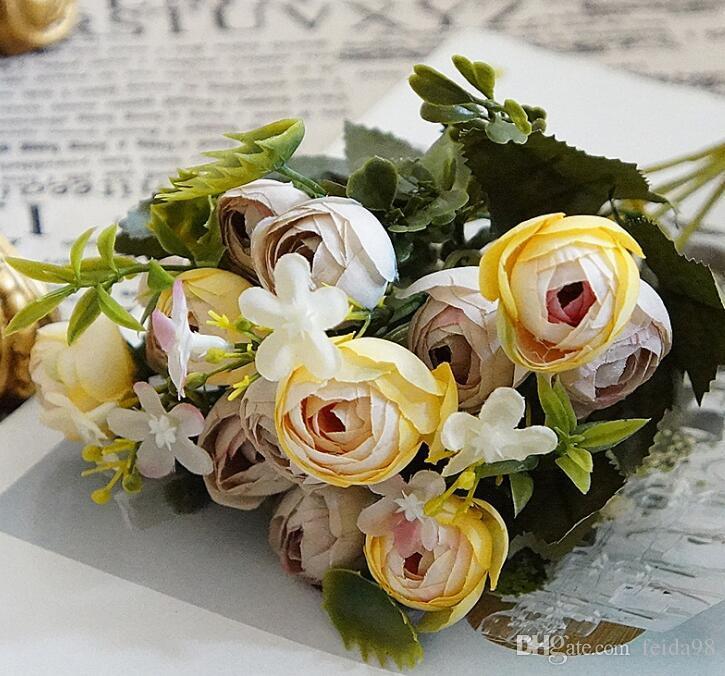 5 вилка королевский чай бутон моделирование шелковые цветы главная декоративные цветы G1243