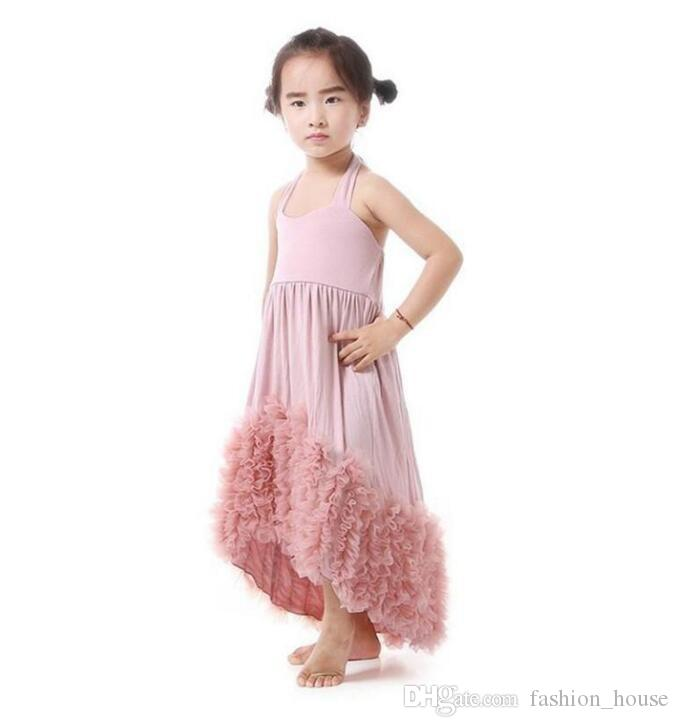 New Girls Maxi Dress Kids Dust Pink Cotton Ruffles Tulle Evening Dress Baby Boutique Clothing Children Flower Girls Dresses A08