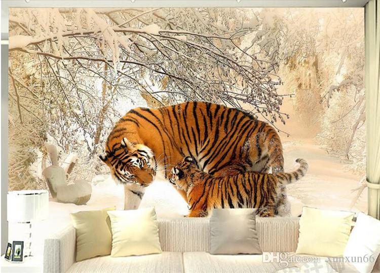 3d quarto papel de parede personalizado mural não-tecido imagem 3d O leste-norte tigre inverno neve pintura foto murais de parede 3d papel de parede