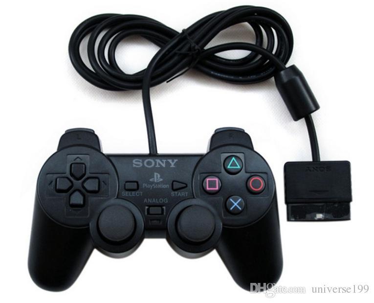 DHL Com Fio Dupla vibração Choque Controlador Gamepad Compatível para Playstation 2 PS2 Console Videogame Embalagem de Varejo Preto