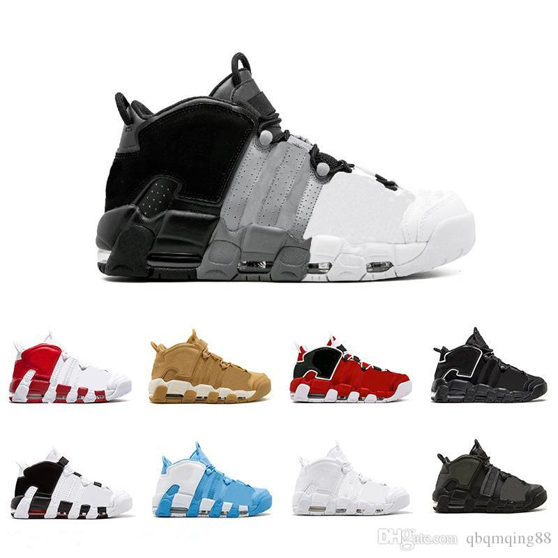 0ab3d085db0ea GOLD Tri-Color Flax Air More Uptempo QS Olympic Varsity Gym Red ...