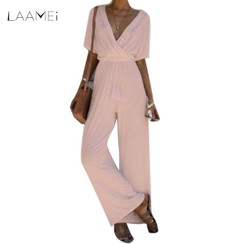 b29ba804217 2019 Laamei Wide Leg Jumpsuit Overalls 2018 New Summer Long Trousers Short  Sleeve Tee Top Fashion Women Black Belted Ladies Playsuits From Salom