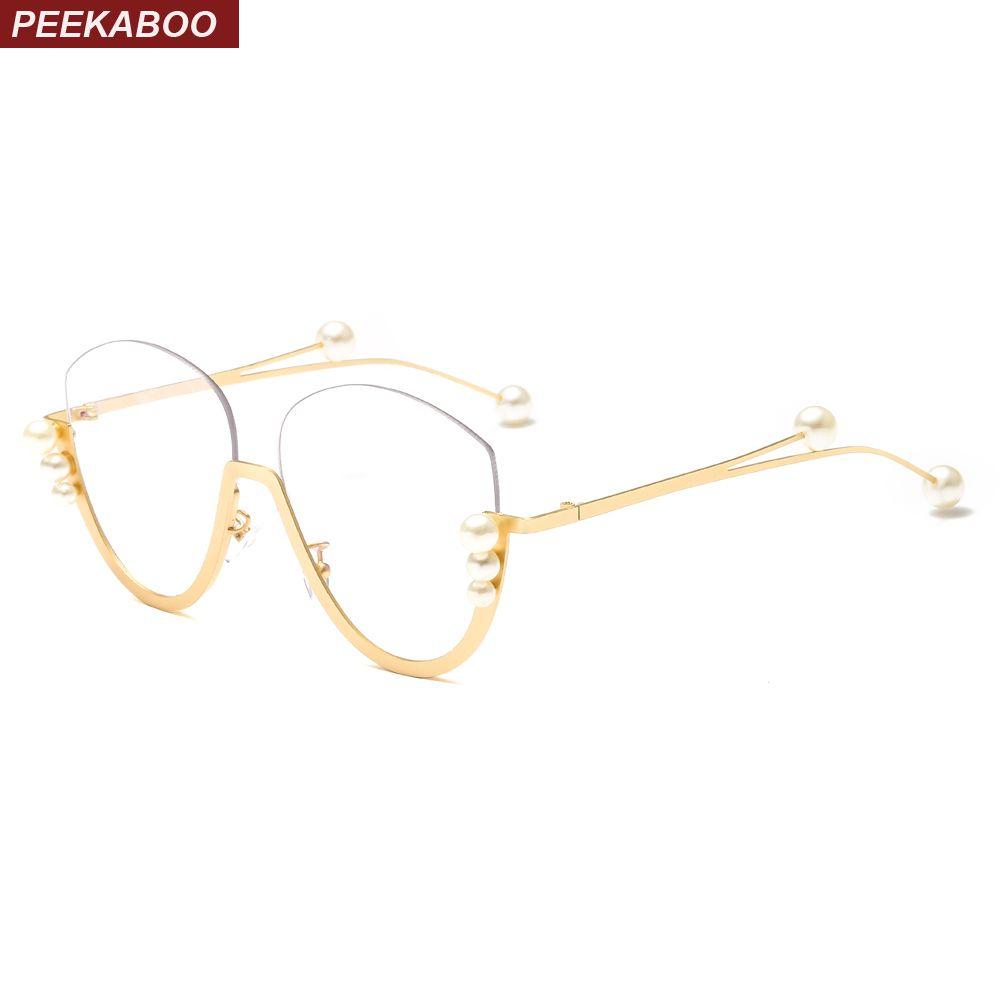Großhandel Peekaboo Halbrahmen Brille Frauen Katzenauge Gold Metall ...
