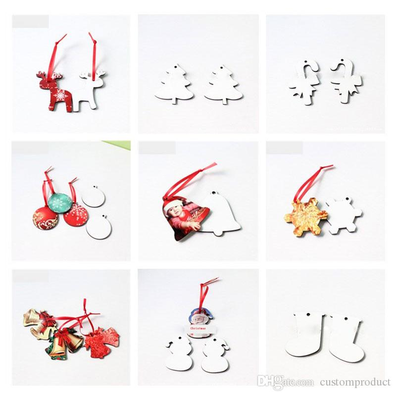 sublimation mdf christmas ornaments Decorations with red rope santa claus christmas tree heart transfer printing DIY material 10 styles