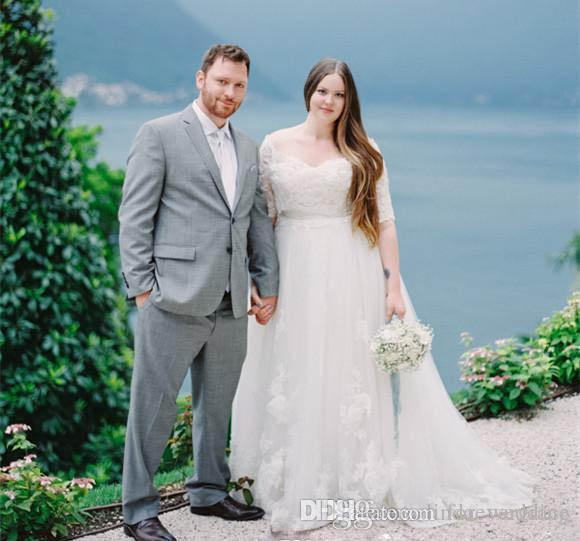 7332f00689c Discount 2018 Half Sleeves V Neck Wedding Dress Noble Lace Appliques  Country Garden Bride Bridal Gown Custom Made Plus Size Gowns Dresses  Italian Wedding ...