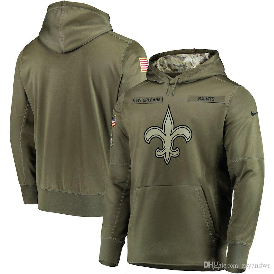 Sudadera de New Orleans Saints Salute to Service Sudadera con capucha Therma Performance Suéter verde oliva