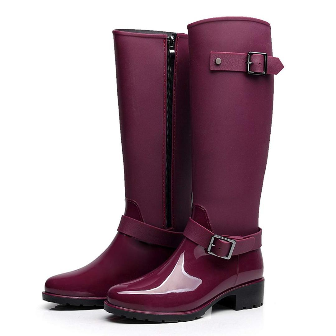 7d516f1a10b Hellozebra Women Rubber Rain Boots Mid Calf Waterproof Wellies Rainboots  High Knee Shoes Cute Soft Non Skid Sole Comfortable Wedge Booties Boots  Sale From ...