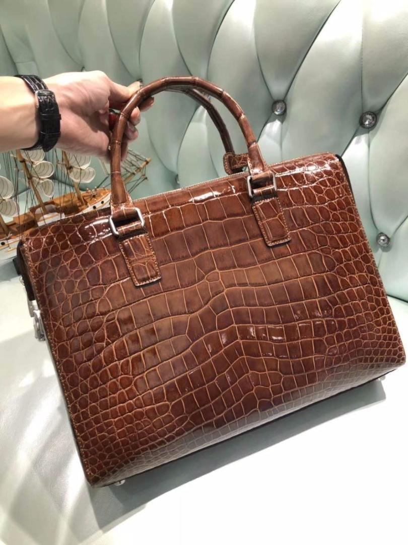 7a89a615d High Glossy Shinnny 100% Genuine Crocodile Leather Men Business Laptop Bag  In Code Locker Key Men Brifecase Official Bag Womens Leather Briefcase ...