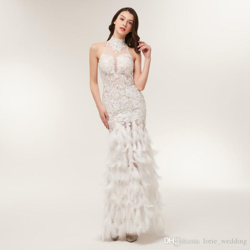 Lorie Formal Evening Dress With Feathers High Neck Appliqued Lace