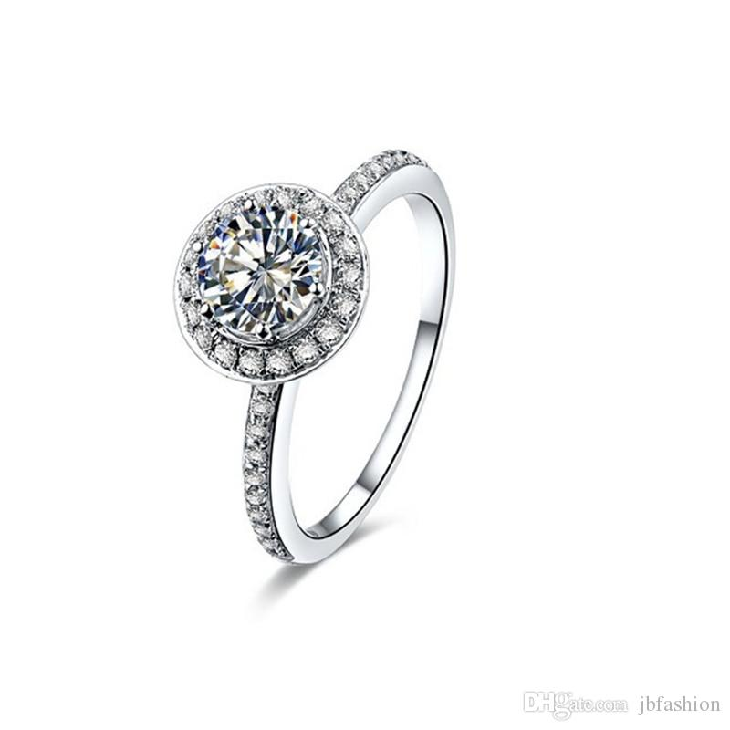 98a8065e7 Classic 1CT T Band Synthetic Diamond Engagement Wedding Rings for Women  Solid 925 Sterling Silver Jewelry 18K Platinum Plated Finger Ring Rings for  Women ...