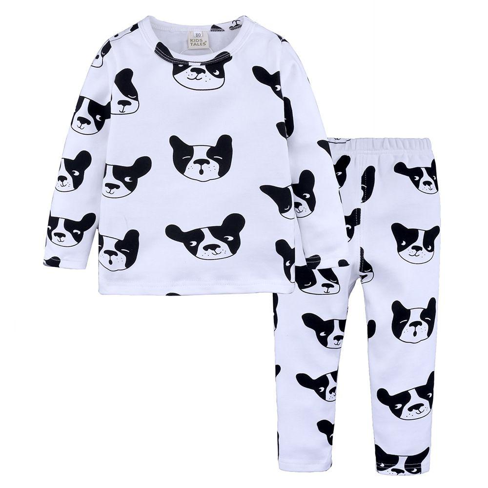 2018 New Baby Pigiama Suit Primavera Autunno manica lunga Top + Pant 2 Pz lana di cotone Lycra Levigatura Pigiama Ragazzi Ragazze Bambini Abbigliamento casa Sleepwears
