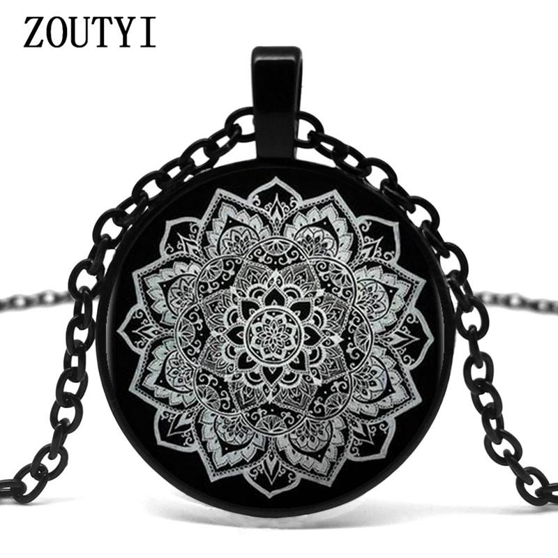 d7b1f446d7130 2019 2018/Indian Mandala Flower Glass Pendant Necklace Tattoo Flower Black  Chain Necklace Pendant Jewelry. From Yuijin, $33.06 | DHgate.Com