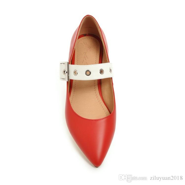 Spring new shoes 31 32 33 small size female thick with low-heeled pointed shoes 40-43 44 45 46 large size belt buckle shoes