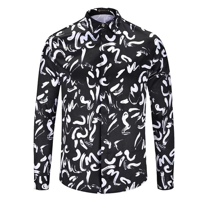 2ecc5db5 2019 Italian Brand Medusa Men'S Long Sleeved Shirt Men'S Casual Shirt  Flower 3d Printing Business Slim Harajuku Silk Shirt White Letter Printing  From ...