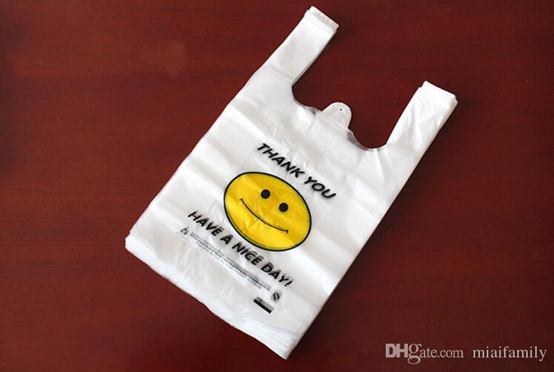 Transparent Smiling Face Portable Plastic Bags Customized Fresh Material Waterproof Multi-purpose Vest Shopping Bags DHL Free