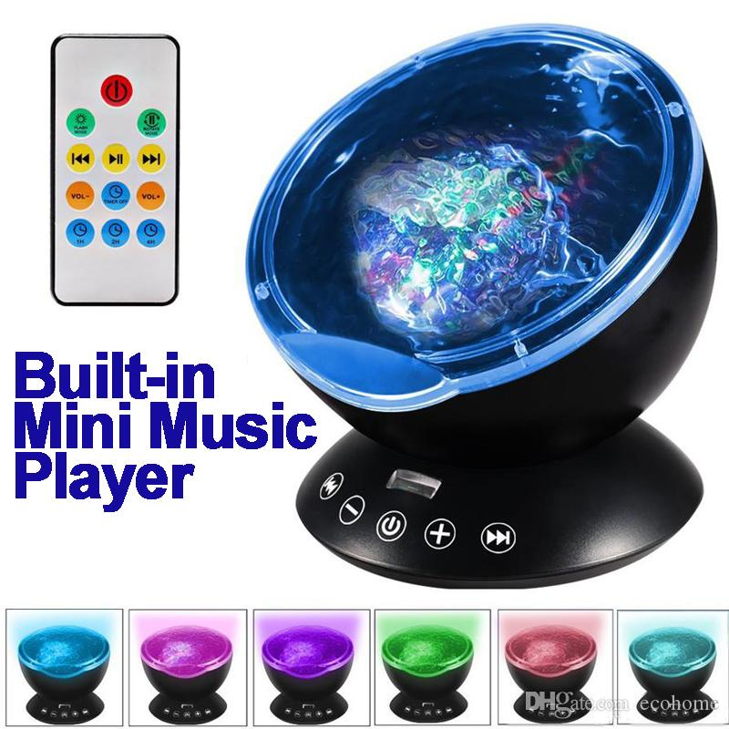 Ocean Wave Projector Lamp Night Light with Remote Control Music Player Romantic Changing for Party Decorations Kids Bedroom