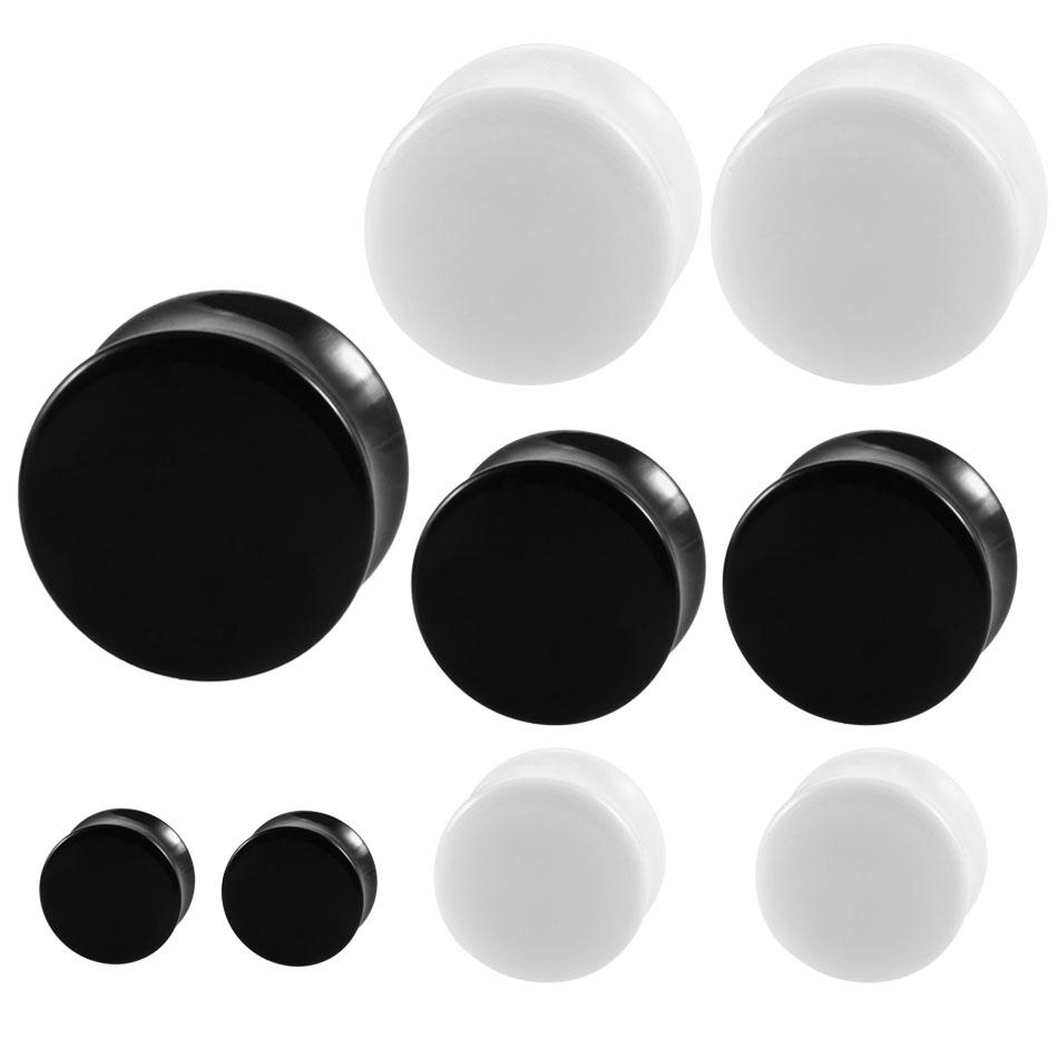 Pair White&Black Acrylic Ear Tunnel Plug Simple Styles Ear Gauges Piercing Double Curved Saddle Expander Stretcher Body Jewelry