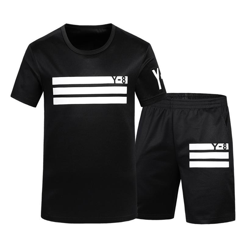 7107036af 2018 hombres del verano de dos piezas sudadera moda Tracksuit hombres  cortos camiseta Sportsuits camisetas Busos Para Hombre
