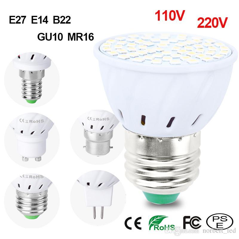 Acheter Ampoules Led E27 E14 Mr16 Gu10 B22 Lampada Ampoule Led 110v