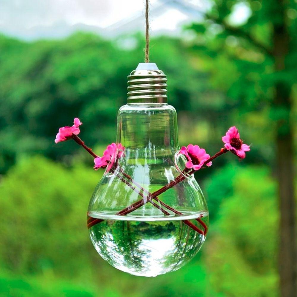 Bulb Shaped Plant Flower Clear Glass Vase Bottle Table Hanging Home